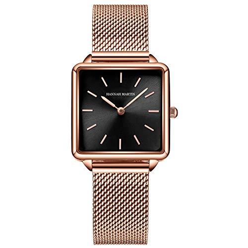 Relojes de Cuarzo Mujeres Dial Cuadrado Casual Business Reloj de Pulsera de Malla de Acero Inoxidable Rose Gold/Silver (Black-Gold)