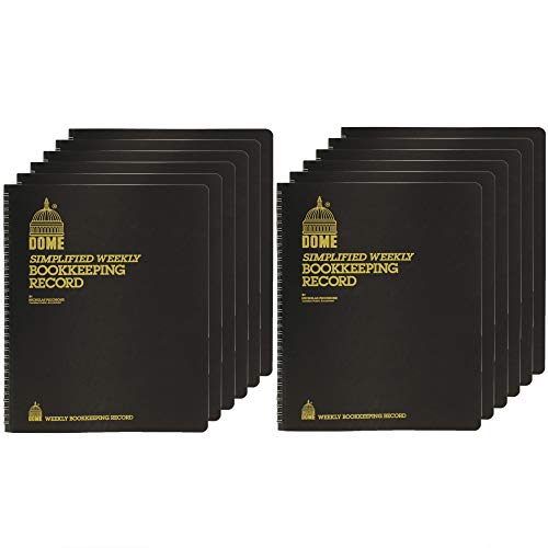 Dome DOM600 Bookkeeping Record Book Weekly 128 Pages 9 x11 Inches, Brown / 12 Pack