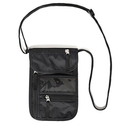 Portadocumenti da collo di Nomalite. | Borsello da viaggio nero, con tracolla sottile e resistente, 5 tasche (porta passaporto e cellulare). Con protezione RFID : ideale per uomini, donne, bambini.