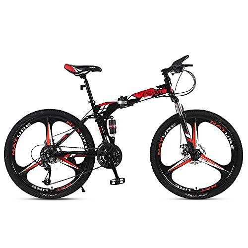 GGXX Bicicleta MontañA 24/26 Pulgadas Marco Acero Alto Carbono Plegable PortáTil 21/24/27 Velocidad Bicicleta Velocidad Variable Freno Disco Doble Bicicleta CercaníAs La Ciudad