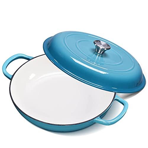 Enamel Cast Iron Casserole Dish with Lid--CSK Cast Iron Braiser Pan with Porcelain Coating, 4...