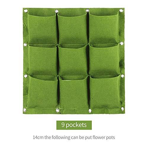 Rosepoem Pflanzbeutel - Wandbepflanzung senkrecht hängend Grün für Balkon & Terrasse - vertikaler Pflanzer mit 9 Taschen