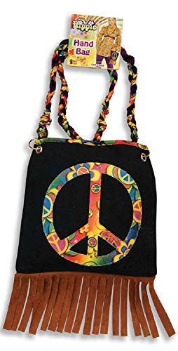 A gorgeous little handbag for ladies with CND Peace Symbol and faux suede tassels fringe.