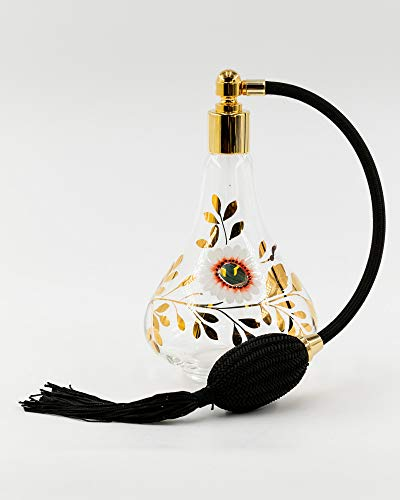 martinoli pulverizador para Perfume en Cristal de Murano con hojas doradas, Transparente,...