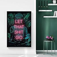 ポスターそのたわごとを引用させてください女性の絵画の壁の絵のためのバスルームアート面白いバスルームサインキャンバスプリントとポスターバスルームの装飾