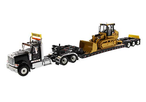 International HX520 Tandem Tractor Black with XL 120 Lowboy Trailer and CAT Caterpillar 963K Track Loader Set of 2 Pieces 1/50 Diecast Models by - Diecast Masters 85599
