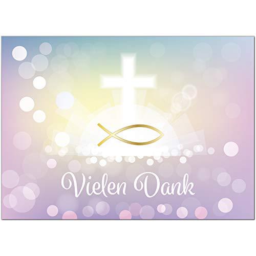 15 x Dankeskarten mit Umschlag - Zauberhafter Verlauf rosa gelb mit Kreuz und Fisch - Danksagung/Bedanken/Danke sagen zur Taufe, Kommunion, Konfirmation, kirchlich