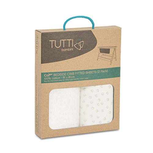 Tutti Bambini CoZee Cot Fitted Sheets (2 Pack) - Neutral/Pebble 100% Cotton Sheets - for CoZee Bedside Crib