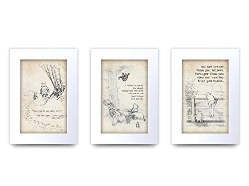 HWC Trading Winnie the Pooh Set von 3 x A4 ungerahmt bedruckt Zitat Kinderzimmer Druck Baby Dusche Zimmer Geschenke Neugeborenes Schlafzimmer Geschenk Druck Foto Bild Display