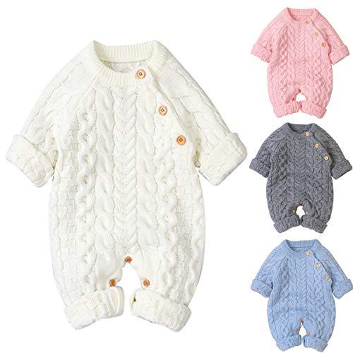 Tianhaik Baby Footies Mono de Mameluco de Punto Trajes de Ropa de Manga Larga Mono de suéter Ropa de Mameluco de Punto de Invierno para bebés de 0-18 m