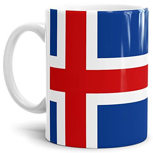 Tassendruck Flaggen-Tasse/Souvenir/Urlaub/Länder-Fahne/Kaffetasse/Mug/Cup - (Island, Normal)