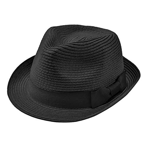 Faletony - Sombrero de paja para verano estilo fedora con cinta, plegable, para hombre y mujer, color beis Negro 59