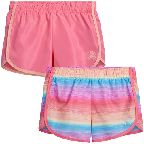 Body Glove Girls 2 Pack Athletic Gym Workout Yoga Running Shorts, Size 7, Rainbow Tie-Dye/Pink