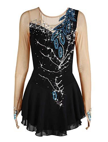 DIELIAN Ice Eiskunstlauf-Kleid Frauen Mädchen Skating-Kleid Performance Skating Wear hohe Elastizität Kristalldekoration Leuchtenden,Schwarz,170cm