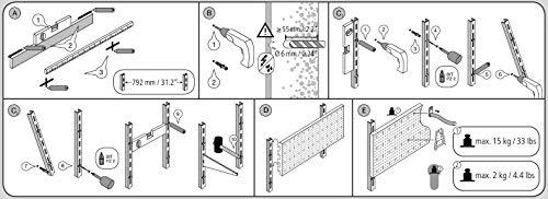 Element System Werkzeuglochwand aus Metall plus 19 teilig Werkzeughalterset inklusive Schrauben und Dübel, Werkzeugwand weiß, Werkbankzubehör - 10