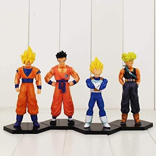 CXNY Figuras de accion 4pcs / Lot 16-18cm Dragon Ball Z Super Saiyan Son Goku Vegeta Yamcha Trunks PVC Modelo Juguetes coleccionables