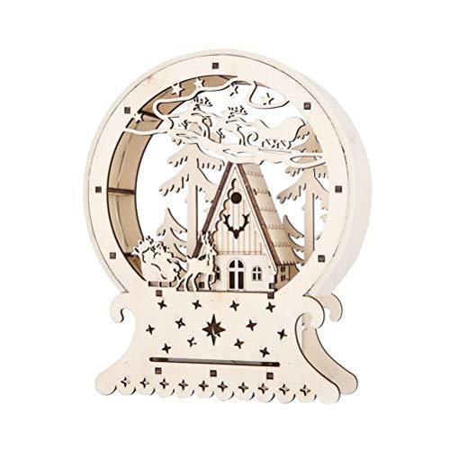 bestoyard casa de Navidad miniatura trineo madera luminoso LED Decoration Navidad bola con reno árbol Noel Regalo de Noel (sin batería)