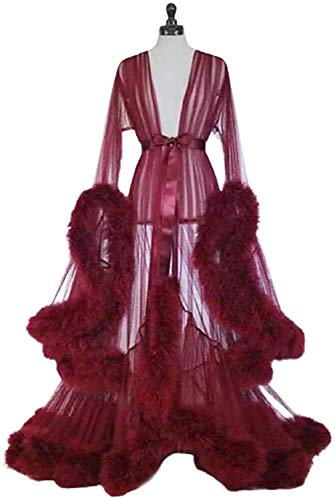 HYISHION Women Plus Size Lingerie Robe, See-through Sexy Feather Robe, Nightwear Long Lace Dress Kimono Night Robe, Feather Trim Tulle,Red,One Size