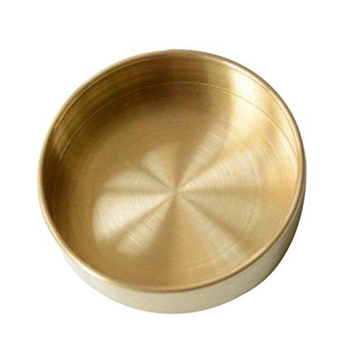 B Blesiya Metall Deko Teller Rund Messing gebäckschale Weihnachten kuchenplatte - Gold S