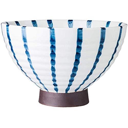 Tazón Tazón de cerámica Creativa de Estilo japonés Tazón hogar antiescaldadura Tazón de Fuente Alto Ensaladera Soup Bowl del Recipiente de Mezcla, Blanco, 19,2 * 12,2 cm, Blanco, 13 * 8,8 cm PinBaiYa
