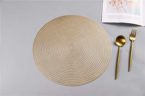 KACTZDZ - Juego de 6 manteles de mesa de aislamiento nordico anticalor, diseno minimalista de PVC, 38 cm, plastico, dorado, 38 cm