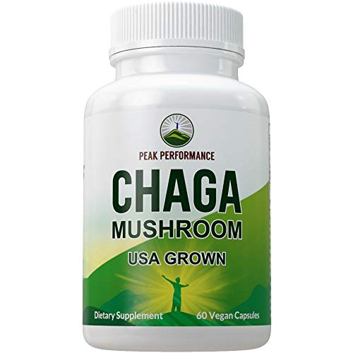 Chaga Mushroom Capsules (USA Grown) by Peak Performance. Naturally Harvested Mushrooms Extract in Vegan Capsule. Immune, Energy Boost, Antioxidant, Beta Glucan Rich Supplement 60 Pills
