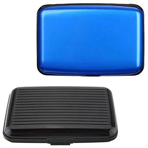 Senhai, 2 porta documenti in alluminio con protezione da RFID, ideali per carte di credito e di identità, unisex, colore nero, blu