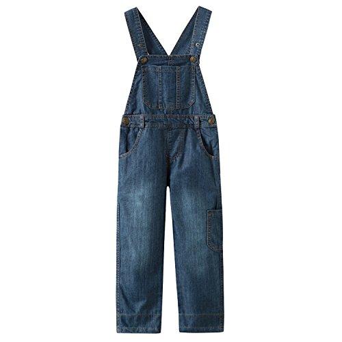 Grandwish Denim Latzhose Jungen Overalls für Kinder, 016 Blau, 128cm (Etikettengröße:7)