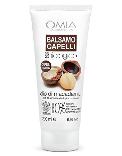 Omia Balsamo per Capelli Eco Bio con Olio di Macadamia, Crema per Capelli Stressati e Spenti, 200 ml