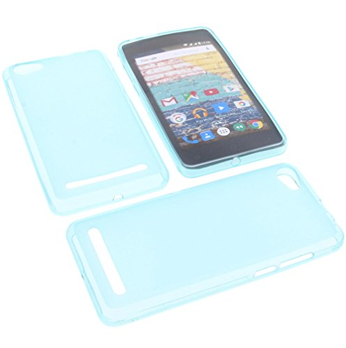 foto-kontor Tasche für Archos 45b Neon Gummi TPU Schutz Handytasche blau