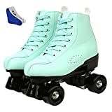 Roller Skates for Women Men,PU Leather High-top Roller Skates for Beginner Double-Row Wheels, Indoor Outdoor Roller Skates Adult Youth Unisex with Shoes Bag (Green Black Wheel,37)