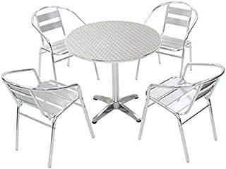 WA36 L61 W80 ガーデンテーブル5点セット ガーデンファニチャー ガーデンテーブルセット ガーデンチェア ステンアルミ アルミテーブル ガーデンテーブル アルミチェア スタッキング キャンプチェア ステンレス アウトドア