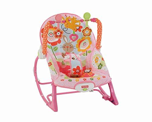 Fisher-Price Y8184 2-In-1 Sweet Pink Schaukelsitz Wippe und Sitz mit Spielzeug max. 18 kg für Babys und Kleinkinder, ab 0 Monaten, pink