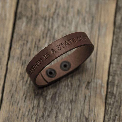 Brazalete personalizada de cuero italiano marrón, grabe su nombre, lema...