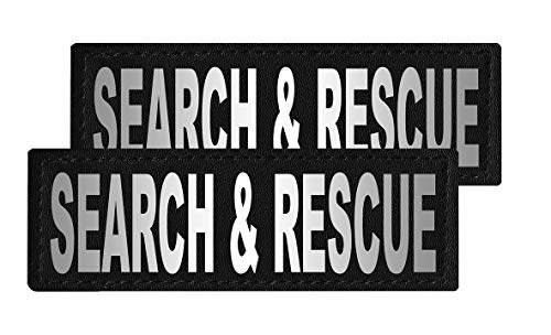 Dogline Search and Rescue Vest Patches – Removable Search and Rescue Patch 2-Pack with Reflective Printed Letters for Support Therapy Dog Vest Harness Collar or Leash Size C (2