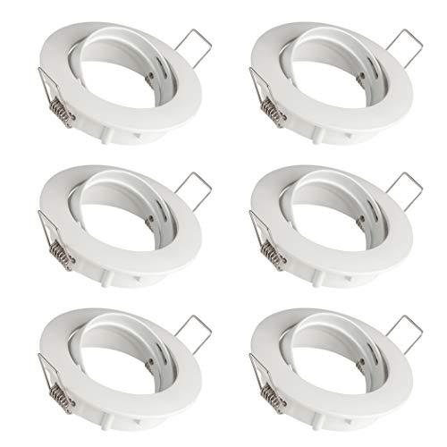 SEBSON 6x Foco empotrable Techo orientable incl. GU10 casquillo (LED/Halógeno) - Orificio de montaje ø75mm, ø83x21mm, redondo, aluminio blanco