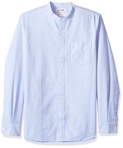 Amazon-Marke - Goodthreads, Oxford-Herrenhemd, Langarm, Stehkragen, normale Passform, Blau (Blue Blu), US L (EU L)