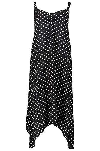 Ulla Popken Damen große Größen bis 64, Strandkleid mit Punkten, Lagenlook mit Zipfelsaum, V-Ausschnitt, breite Träger, Ärmellos, schwarz 50/52 722093 10-50+