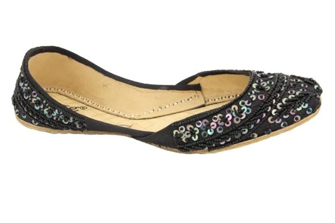 層フリルご注意Unze Girls Shiny Sequins Detailing Leather Flat Indian Khussa Evening, Party Pump - 02-Sqe Nd Kids