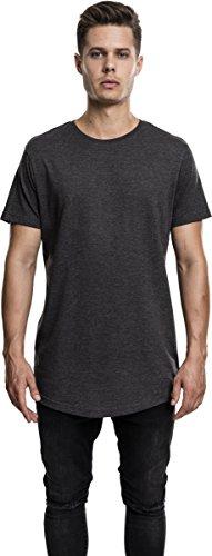 Urban Classics TB1767 Herren T-Shirt Shaped Melange Long Tee - Kurzarm Longshirt für Männer mit Rundhals-Ausschnitt und abgerundetem Saum, einfarbig - Farbe charcoal, Größe M