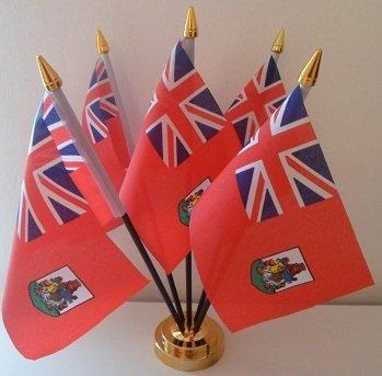 Bermuda bermudienne 5 Drapeau de bureau Affichage avec Base dorée