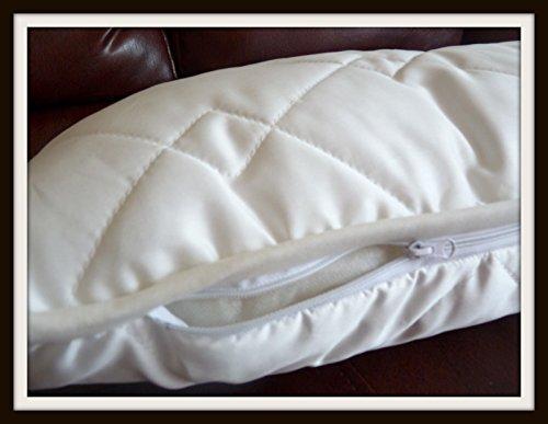 2almohadas de lana merino + funda de algodón natural con certificado Woolmark hipoalergénicas, 65 x 65 cm