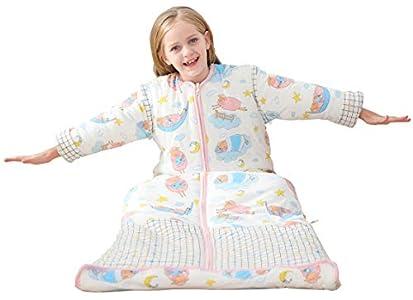 Chilsuessy - Saco de dormir para niños con mangas desmontables (invierno, 2,5 tog, para niños y niñas de 1 a 10 años de edad, oveja, talla XL, cuerpo 130-150 cm), color rosa