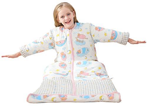 Chilsuessy Winter 3.5 Tog Kinder Schlafsack mit abnehmbaren Ärmeln Bio Babyschlafsack für Jungen und Mädchen von 1 bis 10 Jahre alt, Rosa Schafe, XL/Koerpergroesse 130-150cm