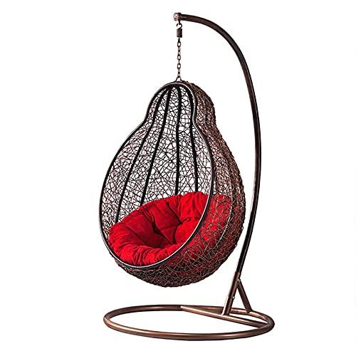 MKKYDFDJ Silla de huevo colgante columpio, silla de huevo de ratán independiente con soporte, cesta de mimbre para colgar en interiores, patio, jardín, ocio, 145 x 70 x 99 cm