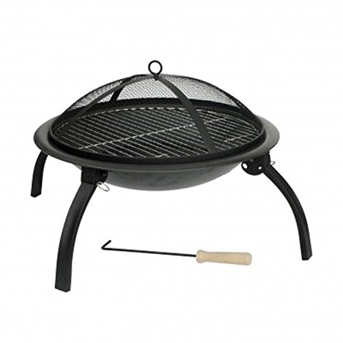 HH Home Hut Large Fire Pit Steel Folding Outdoor Garden Patio Heater Grill Camping Bowl BBQ With Poker, Grate, Grill with Free Carry Bag