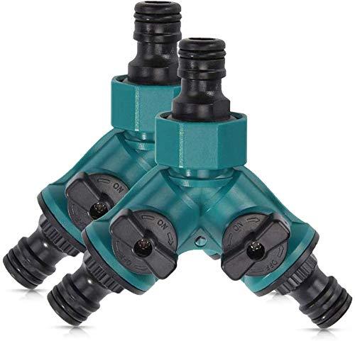 Yicare 2Pcs 2-Wege-Verteiler Ventil mit Absperrventil für Gartenschläuche Schlauchkupplung Doppel Anschluss Gartenschlauch Wasserverteiler für Wasserhahn 3/4 Zoll Beide Ausgänge Regulierbar