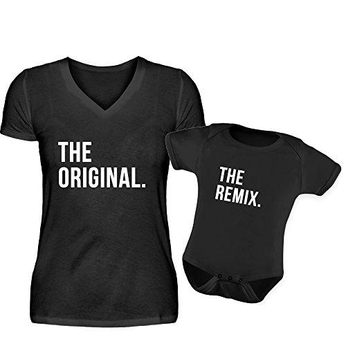 Mutter Baby Partnerlook The Original The Remix Rundhals V-Neck Tshirt und Strampler Eltern Kind Partner Look Für Damen Und Sohn Oder Tochter In Schwarz (S & 0-6 Monate)