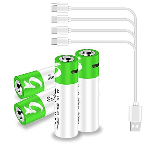 Lithium AA Akkus Wiederaufladbare Batterien, SVNONVE 1,5V 2600mWh Rechargeable Batterien mit USB Type C Kabel 1.5H Schnellladung,1200 Zyklen Recycelbar,4 Stück