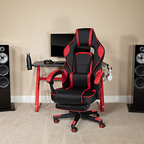 Flash Furniture X40 Gaming Chair Racing Ergonomic Computer Chair with Fully Reclining Back/Arms, Slide-Out Footrest, Massaging Lumbar - Red